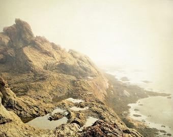 "Landscape photography, coastline, seashore, ocean, nature, cliffs, fog, nautical - ""Rocky coast"""