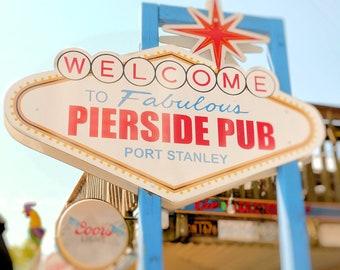 """Retro sign, beach decor, seaside, beach, summer, wharf, hip, boardwalk, nautical, red, blue, cream - """"Pierside pub"""""""