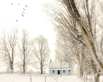"""Landscape photography, house, winter, trees, snow, blue, white, farmhouse, architecture - """"The house at the end of the lane"""""""