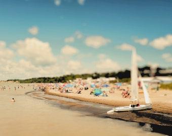 "Beach photography, summer print, coastal decor, Lake Erie, Port Stanley, surf, sand,harbor - ""The beach"""