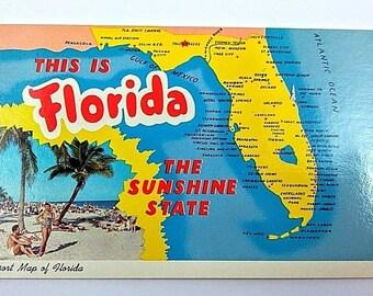This is Florida~The Sunshine State~Florida Resort Map~Beach Scene~postcard~Chrome~Teich