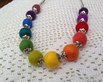 Rainbow felt ball necklace. Hapy hippy rainbow necklace. Exclusive felt necklace with metal beads.