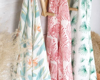Soft Swaddle Blanket - Tropical Print  - Single Baby Receiving Blanket - Choose your print