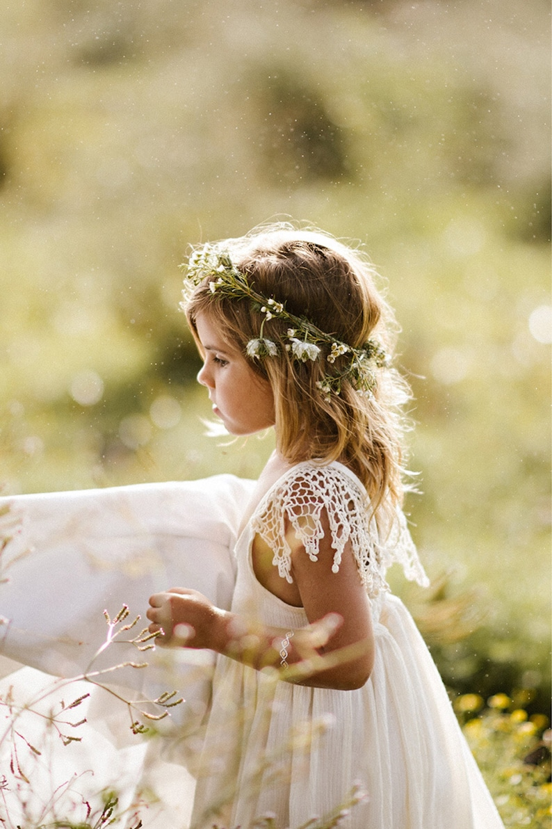 Boho Flower Girl Dress / Ivory Photoshoot Dress image 0