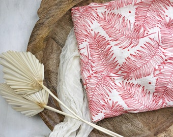 Soft Swaddle Blanket - Tropical Red Palm Leaf Print - Baby Receiving Blanket