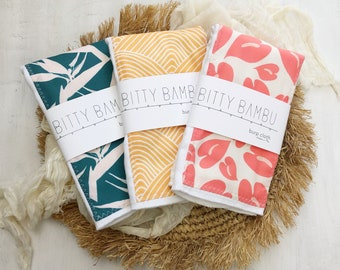 Baby Burp Cloth Set of 3 - Hawaii Tropical Themed Baby Gift Set - Boutique Baby Gift - Layette Gift - Hawaii Baby - bitty bambu