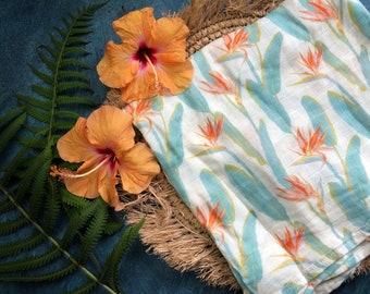 Soft Swaddle Blanket - Bird of Paradise - Baby Receiving Blanket