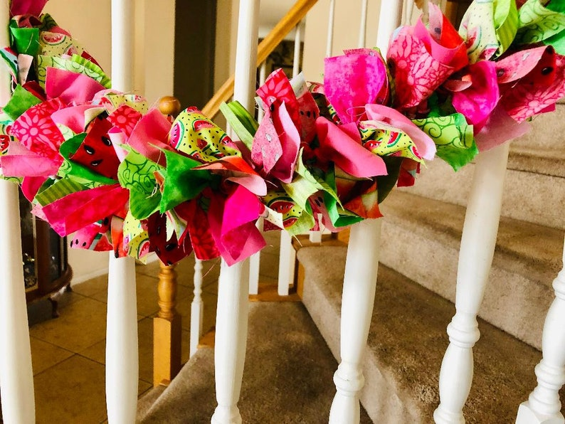 7 foot Watermelon Fabric Garland Perfect for Summer,Rag Garland,Party Decoration,Fabric Garland,summer garland,Mothersday gift,Housewarming