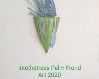 Palm Frond Wall Decor Coastal Beach Tropical Painted Palm Frond Art Palm Tree Painting Original Art intoTheTrees Florida Reclaimed Wood