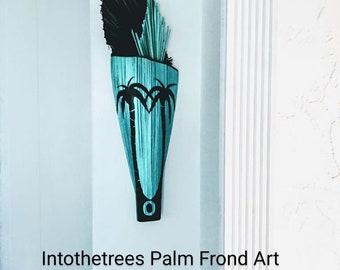 Palm Frond Art Wall Sculpture Coastal Beach  Turquoise Tropical Art Deco Decor Original Florida Art Palm Tree Art Deco Palm tree Painting.