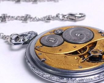 Steampunk Antique 1914 Elgin Pocket Watch Movement n Cross Chain Lariat Necklace