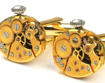 Steampunk Vintage Gold Bulova Watch Movement Cuff Links