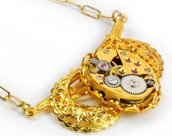 Vintage Gold Watch Steampunk Necklace