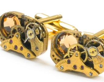 Steampunk Vintage Gold Watch Movement and Crystal Cuff Links