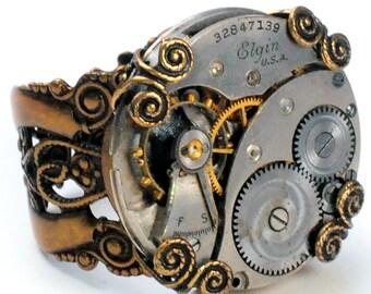 1930 Elgin Watch Movement Steampunk Adjustable Ring