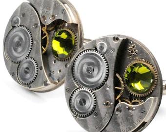 Antique 1920's Elgin Watch Movements N Olivine Crystal Steampunk Cuff Links