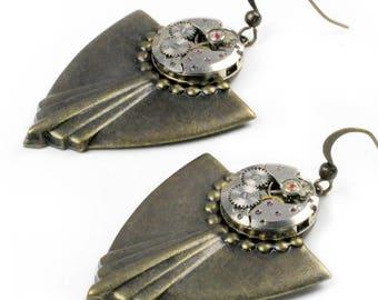 Steampunk Vintage Watch Movement Brass Art Deco Earrings