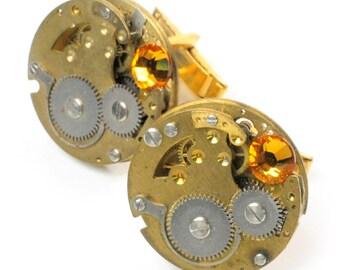 steampunk Large Vintage Brass Watch Movement Cuff Links