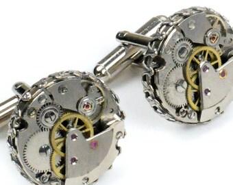 Steampunk Vintage Watch Movement Crown Edge Cuff Links