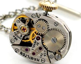 Steampunk Antique 1950's Hamilton Watch Tie Tack Pin Chain Clip