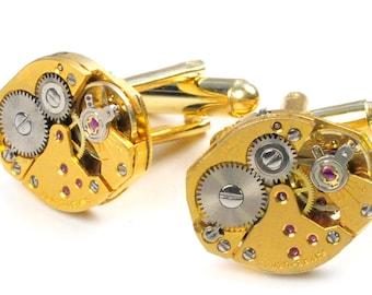 Steampunk Vintage Gold Watch Movement Cuff Links