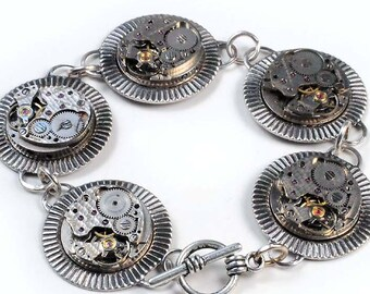 Steampunk Vintage Watch Movement Silver Bracelet