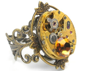 Steampunk Vintage Gold Watch Movement and Topaz Crystal Adjustable Ring