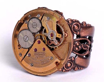 Steampunk Vintage Rose Gold Croton Watch Movement Adjustable Ring