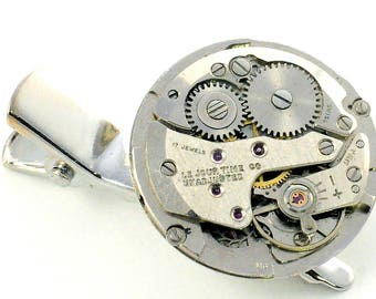 Steampunk  Vintage Watch Movement Pin and Clip