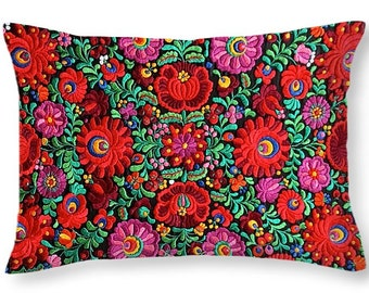 Throw Pillow Hungarian Magyar Matyo Folk Embroidery Photo PRINTED on cotton in 14x14 to 26x26 or oblong 20x14 Decor Accent Pillow Housewares