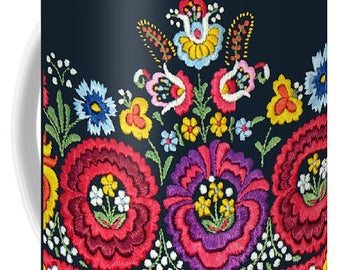 11 oz MUG Ready to Ship - Hungarian Magyar Folk Art Matyo Szentgyorgy embroidery detail 2
