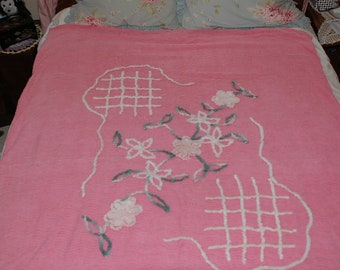 Chenille Bedspread Vintage Twin Duvet cover- Pink with flowers - 53'' x 68''
