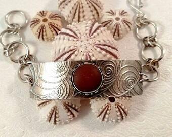 Rare Tomato Red Sea Glass Button Silver Link Bracelet