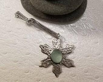 Aqua Sea Glass Silver Snowflake Ornament/Pendant/Charm