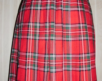 Vintage Red Plaid Pleated Skirt