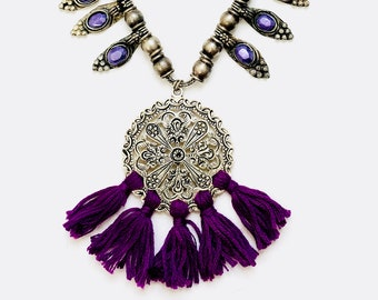 Tribal Silver Purple Tassel Necklace, Bohemian Silver Necklace