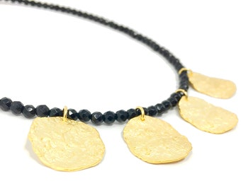 Gold Coin Necklace, Textured Disc Necklace, Gold Circle Choker Necklace.