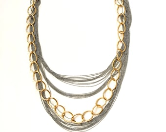 Multi chain Layered Necklace, silver and gold Chain necklace