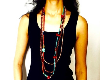 Long and Multi Layered Tribal necklace with Turquoise and Bamboo Corals
