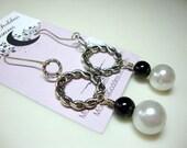 Black Onyx and White Pearl Earrings