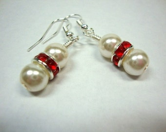 Red and White Delight Pearl Earrings Formal Occasion Holiday Wedding Jewelry