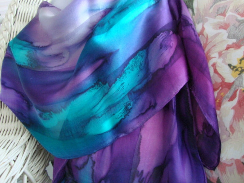 Scarf Silk Women Hand Dyed Hand Painted Northern Lights image 0