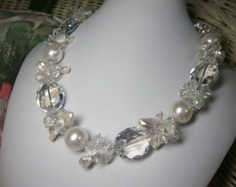 Bold Pearls and Crystals Annie Crystal in White Bridal Necklace Formal Occasion Wedding Jewelry