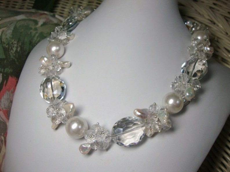 Bold Pearls and Crystals Annie Crystal in White Bridal image 0