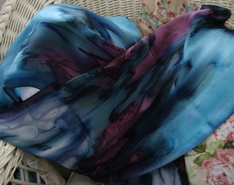 Silk Scarf, Hand Dyed, Hand Painted, Moonlight Magic NEW Scarf, Gift for Women