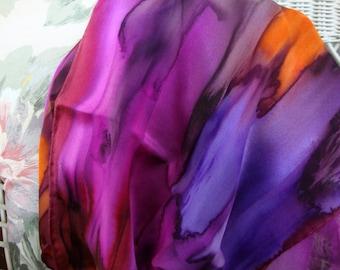 Scarf, Silk, Women, Hand Dyed, Silk Scarf, Plumtastic, Plum, Orchid, Orange, Fuchsia