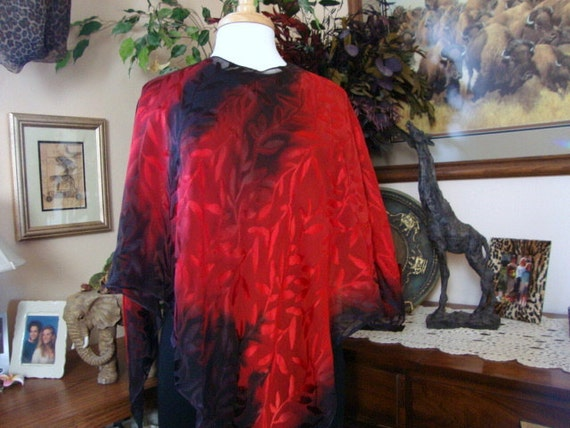 Red Cabbage and Carnations Silk Poncho