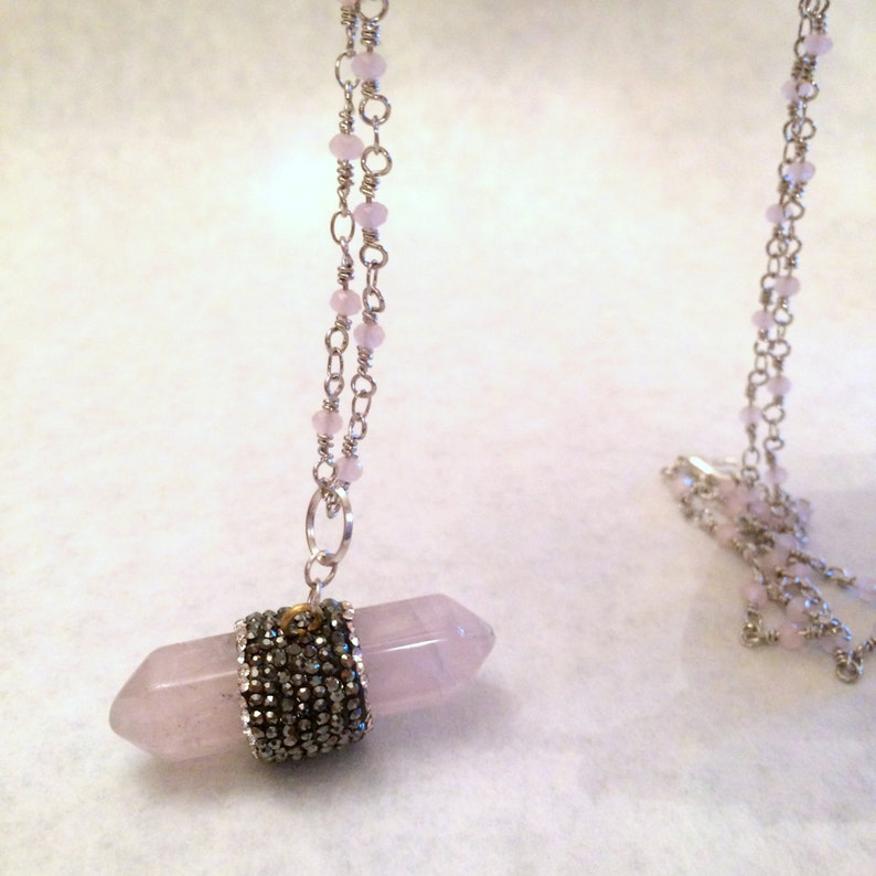 Gemstone Rose Quartz Necklace Necklace