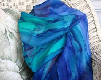 Scarf, Silk, Women, Hand Dyed, Ocean Reef Silk Scarf, Blue Royal Blue Mint Emerald Green
