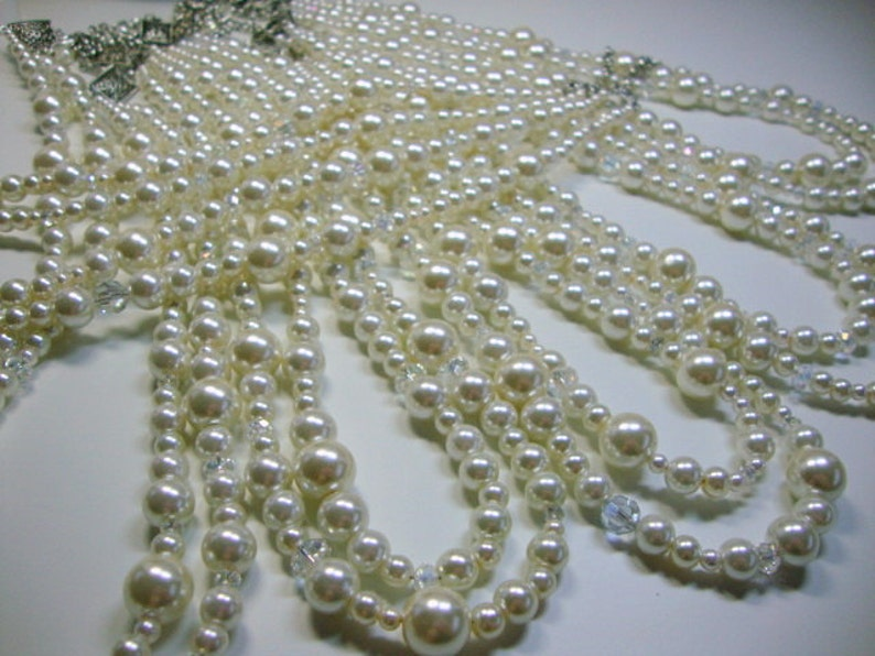 Bridesmaid Double Strand Pearl and Crystal Necklaces image 0